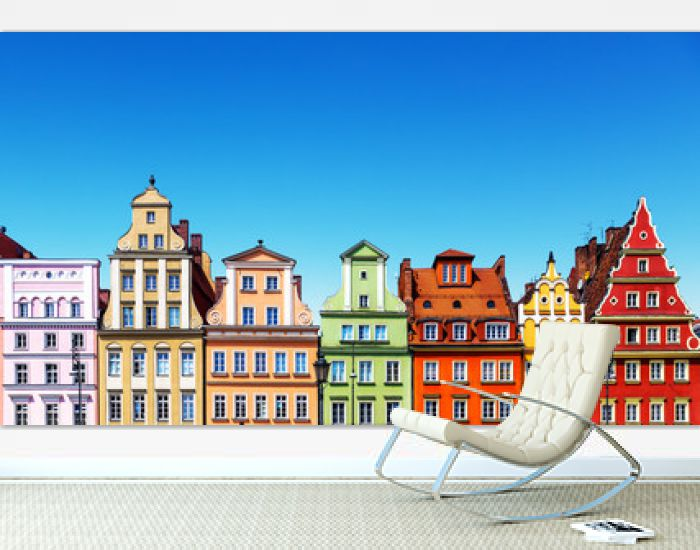 Old color houses in Wroclaw, Poland