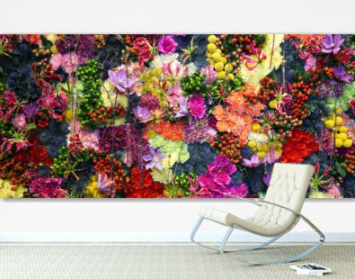 Various color flower background wall with amazing red,orange,pink,purple,green and white various flowers ,Wedding decoration, hand made Beautiful flower wall background