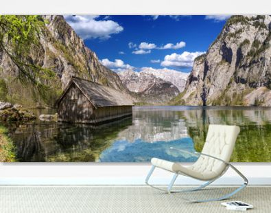 famous boat house hut with view on Obersee lake in front of Watzmann alpine mountain in the Berchtesgadener land bavaria national park germany