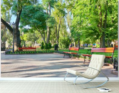 city park at center town, summer season, bright sunlight and shadows, beautiful landscape, home and people on street