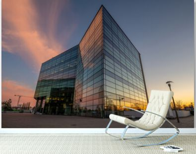 modern office building Baltic Business Park in the light of a beautiful sunset
