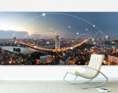 Smart city and wireless communication network concept. Digital network connection lines