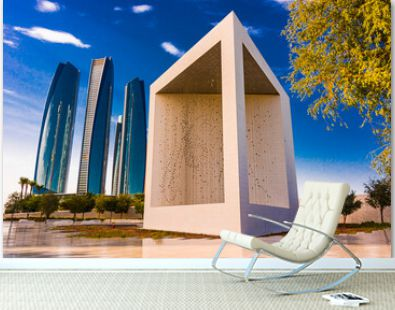 The Founder's Memorial and Etihad Towers in Abu Dhabi, UAE