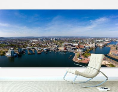 Panoramic aerial view of Cardiff Bay with the city centre in the background