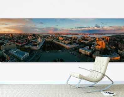 Panorama of Evening spring central Voronezh cityscape at sunset, aerial view