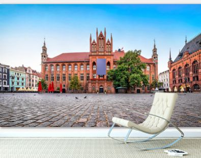 Gothic facade of Old Town Hall of Torun located on Old Market square, Poland