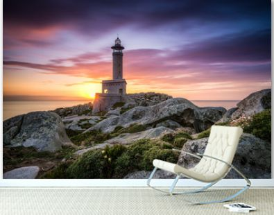 After sunset of The lighthouse of Punta Nariga Malpica in Galicia Spain