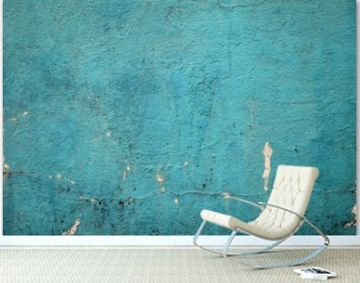 Blank grunge concrete wall sea green color for texture. vintage background