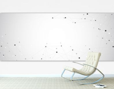 Geometric abstract background with connected dots and lines. Global network concept and communication technology.
