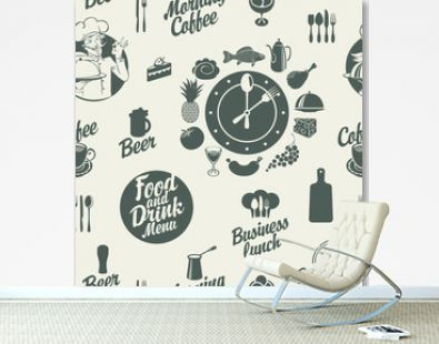 Seamless pattern on the food and drink theme with various dishes, drinks and inscriptions on a light backdrop. Monochrome vector background in retro style. Great for wallpaper, wrapping paper, fabric