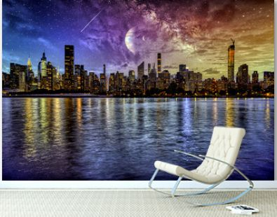 Night Manhattan under a wonderful starry sky and with reflection in the water, Manhattan
