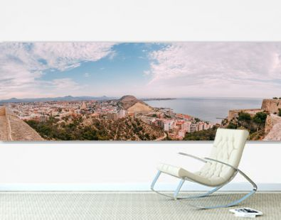 Panoramic view of a beautiful touristic city and Alicante sea