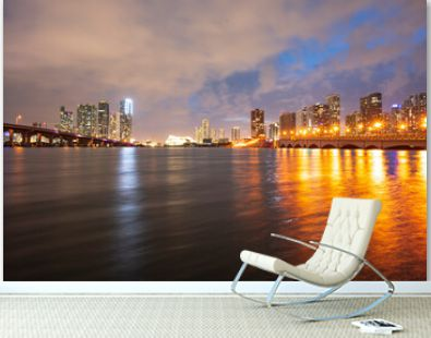 Night Florida Miami city skyline. USA skyscrappers downtown. Landscape of twighlight town.