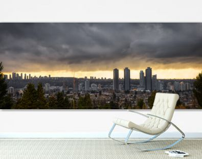 Burnaby, Vancouver, British Columbia, Canada. Beautiful Panoramic Aerial View of a modern city during a stormy and rainy day. Cityscape Buildings