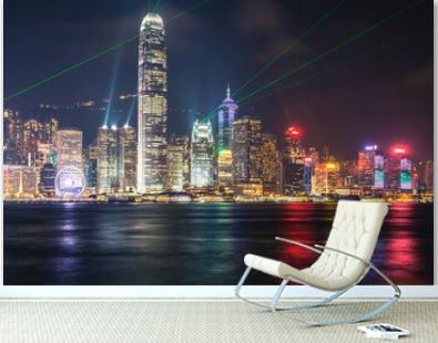 View of Hong Kong harbour at evening time.
