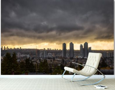 Burnaby, Vancouver, British Columbia, Canada. Beautiful Aerial View of a modern city during a stormy and rainy day. Cityscape Buildings. Dramatic Art Render