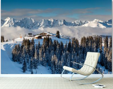 Ski Restaurant on the Mountain Peak near Megeve in French Alps,