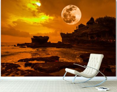 Tanah Lot Temple on Sea with amazing Fuul moon in Bali.