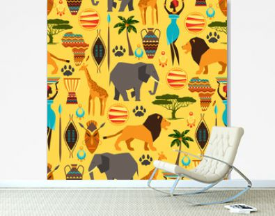 African ethnic seamless pattern with stylized icons.