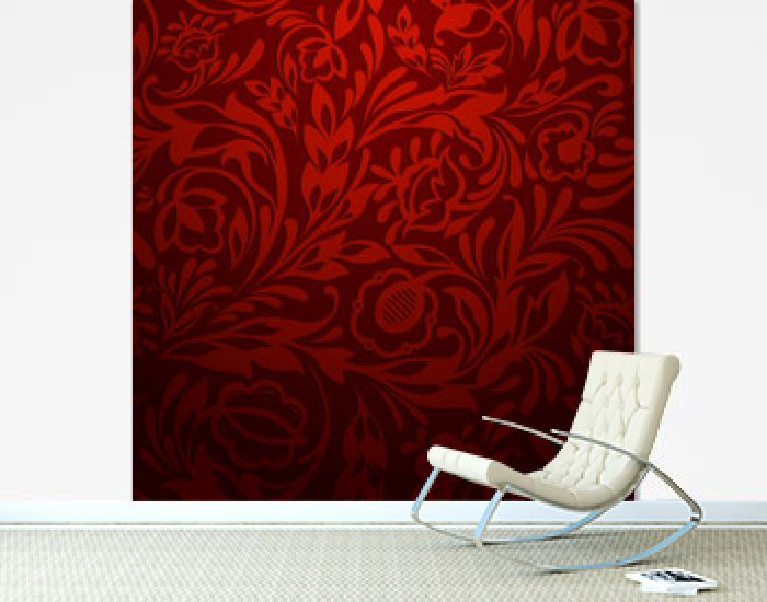 Red seamless floral pattern