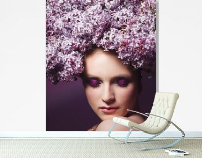 Studio shoot of beauty woman with crown from lilac