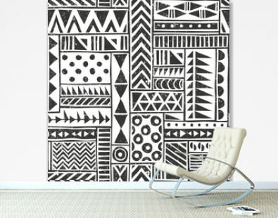 Vector seamless tribal pattern. Seamless background with different geometric shapes. Hand drawn illustration.