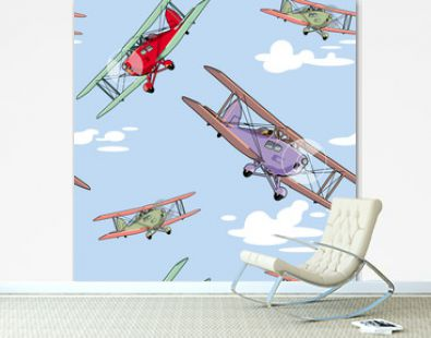 Seamless pattern with retro airplanes