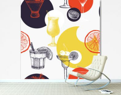 Vector pattern with vintage alcoholic cocktails sketch. Ink hand drawn drinks and ingredients background for bar or restaurant menu