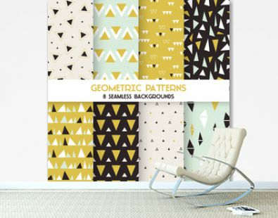 8 Seamless Geometric Triangles Patterns - Texture for wallpaper