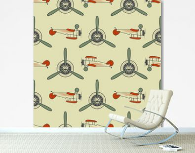 Vintage airplane pattern. With Old Biplanes, propeller elements and symbols. Aircraft seamless background. Retro colors wallpaper. Aviation style. Vector. For web projects, textile print, tee design