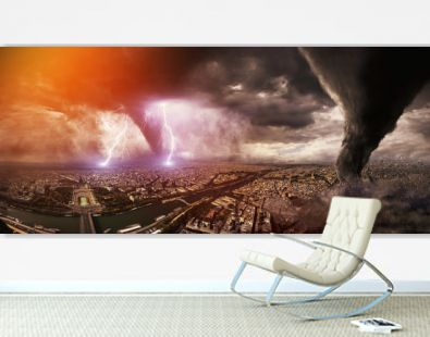 Large Tornado disaster on a city