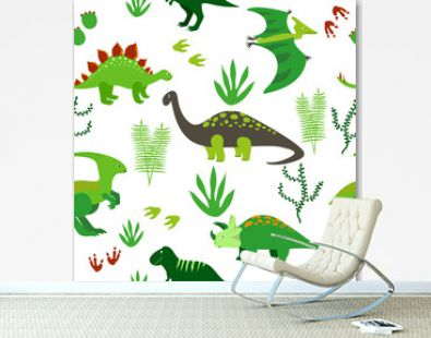 Cute dinosaurs seamless pattern. Vector background with cartoon dinosaurs.