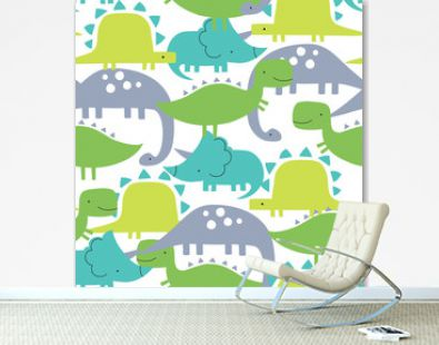 seamless colorful dinosaurs pattern vector illustration