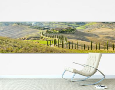 panoramic view to old villa with a lot of cypress in Tuscany