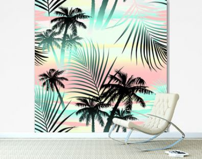 Tropical summer palms seamless pattern