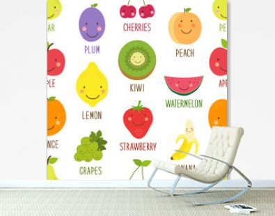 Cute seamless pattern with smiling cartoon characters of fruits for your decoration