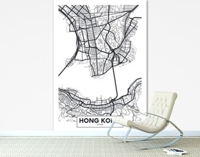 Vector poster map city Hong Kong