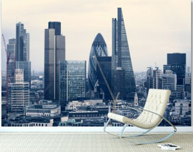 City of London business aria view at sunset. View includes Gherkin and modern skyscrapers of leading financial companies