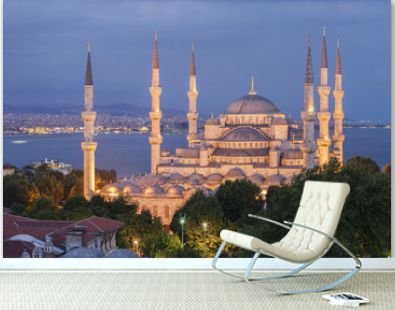 Elevated view of The Blue Mosque at dusk, Istanbul, Turkey.