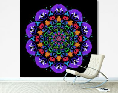The circular multicolored ornament in the style of a mandala on a black background.
