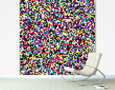 Pixel mosaic seamless pattern in CMYK tones. Repeating texture with cyan, magenta, yellow and black square points. Geometric vector background.