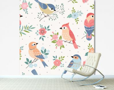 Seamless pastel pattern of birds with floral elements on dot background.