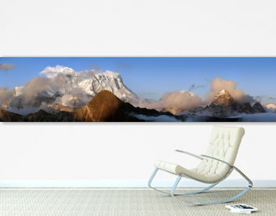 Evening panoramic view of mount Everest and Lhotse