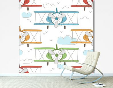 Hand drawn vector vintage seamless pattern with cute little planes in sky with clouds. Adventure dream background. Childish illustration. Kid wallpaper.