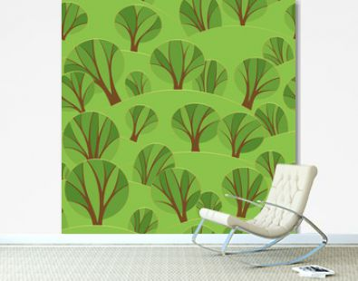 vector simple seamless pattern, summer forest, landscape