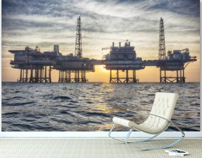 HDR of Offshore oil platform in The Middle of The Sea at Sunset Time