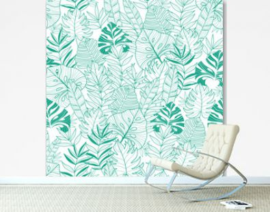 Vector green tropical leaves summer hawaiian seamless pattern with tropical green plants and leaves on navy blue background. Great for vacation themed fabric, wallpaper, packaging.