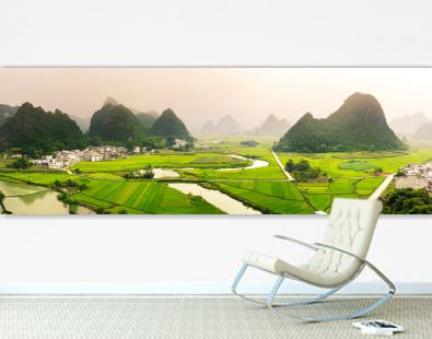 Stunning rice field view with karst formations China