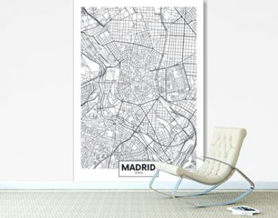 Detailed vector poster city map Madrid