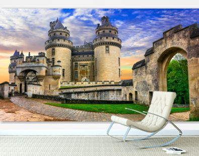 Famous french castles - Impressive medieval Pierrefonds chateau. France